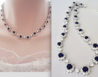 Bridal Jewelry ~ Blue Sapphire Necklace ~ Cubic Zirconia's ~ Halo ~ Adjustable length ~ High End ~ Brides necklace ~ Something blue ~ KATE
