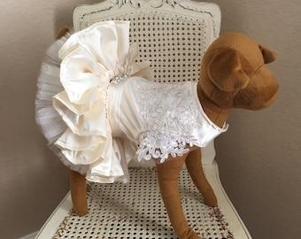 Coup de Foudre Dog Dress, Ivory Satin
