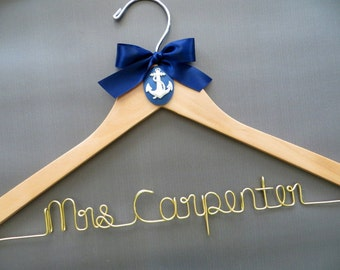 Nautical Wedding Dress Hanger with Gold Wire, Personalized Wire Hanger, Beach Wedding, Bride Hanger, Navy Wedding, Anchor Wedding Hanger