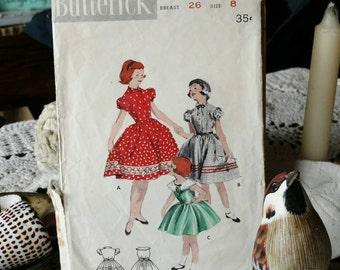 Retro Butterick Bubble Skirt Dress Pattern for Girls - Size 8 Printed Paper Pattern for Young Ladies, Play Dress or School Dress Pattern