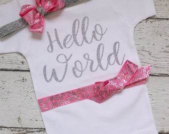 Hello World Take Home Outfit, Hello World Coming Home Outfit, Hello World baby Outfit, Hello World Bodysuit with Headband, pink Silver