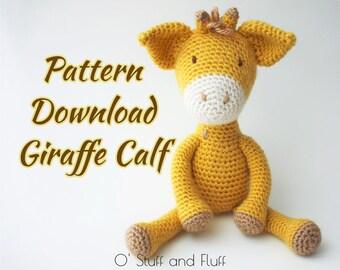 PATTERN- Giraffe Calf PDF Pattern, amigurumi giraffe, crochet animal, April the Giraffe
