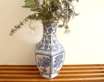 Blue and White Chinoiserie Vase, Large, Hexagonal, Hollywood Regency Asian Decor, Chinese Porcelain