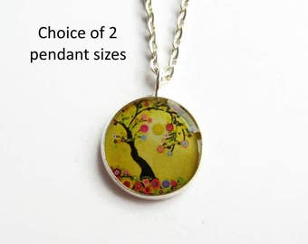 Yellow Tree of Life Necklace, Tree Picture Pendant, Fashion Jewellery Gift for Her, Nature Lover, Resin Jewelry, Small Pendant
