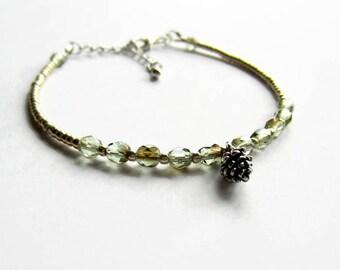 Dainty Beaded Bracelet, Pine Cone Charm Bracelet, Bohemian Minimalist Jewelry, Skinny Layering Bracelet, Boho Stacking Bracelet, Adjustable