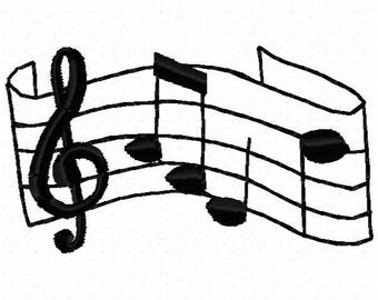 Music Notes Machine Embroidery Design - Instant Download