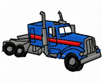 Big Rig Truck Embroidery Design - Instant Download