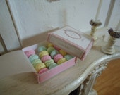 Box of french macarons. 1/12th scale. Treasury item
