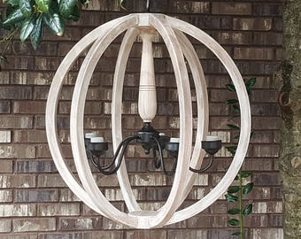 """24"""" Distressed Antiqued Painted White Wood Orb Chandelier Sphere Wood Chandelier Rustic Farmhouse"""
