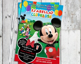 Mickey Mouse Clubhouse Invitations with Minnie, Printable Minnie Mouse Invitation, Mickey Mouse Clubhouse Birthday Invitations, Printable