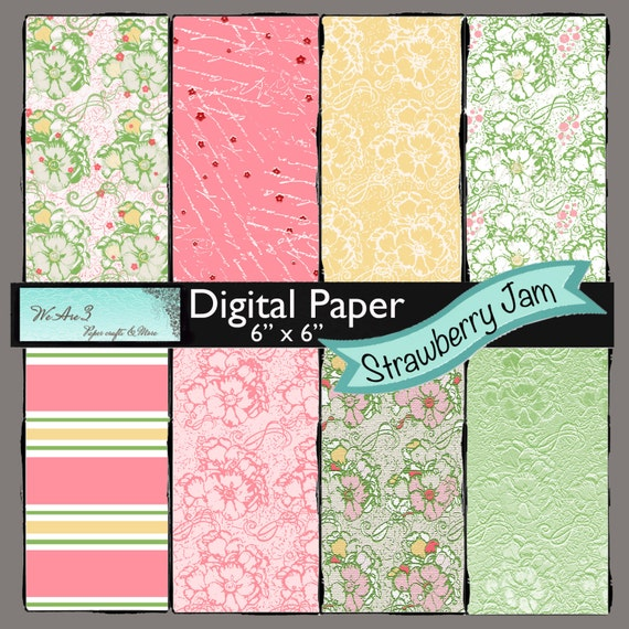 We Are 3 Digital Paper, Strawberry Jam
