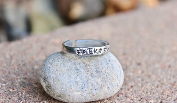Dog Name Ring, Paw Print Stamps, Adjustable Ring, Hand-Stamped Ring, Stackable Ring, Dog Name Stamped with Paw Prints, Inspirational Ring