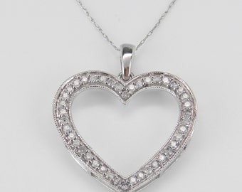 "Diamond Heart Pendant Necklace White Gold Chain 18"" Wedding Gift"