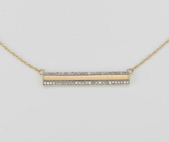 "Diamond Bar Necklace Cluster Pendant Yellow Gold Wedding Gift Chain 17"" Modern"