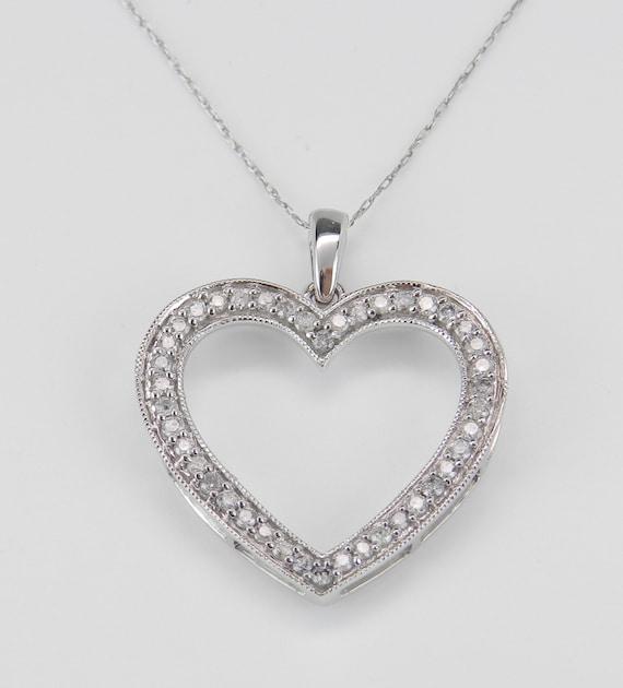 "Diamond Heart Pendant Necklace White Gold Chain 18"" Wedding Gift"
