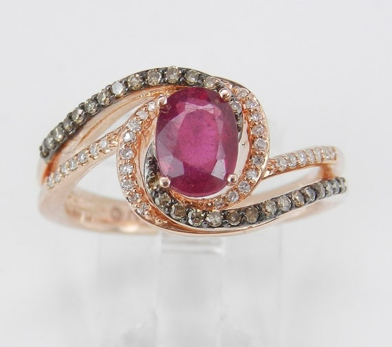 Ruby and Fancy Diamond Engagement Ring Promise 14K Rose Gold Size 7 July Gem