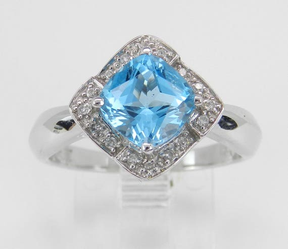 Diamond and Blue Topaz Halo Promise Engagement Ring 14K White Gold Size 7.25
