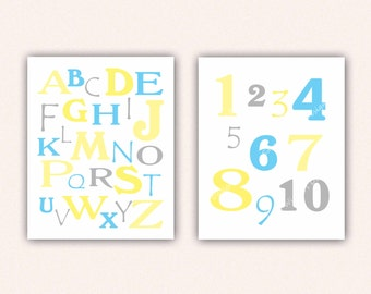 Alphabet and Numbers Print Set - Turquoise Yellow Gray ABC's and 123's for Kid's Bedroom - Custom Nursery Art (5003)
