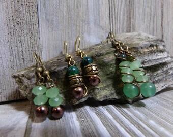 Jewelry earring dangle drop beaded earring green beaded EBE001 wire wrap BOHO earring precious stone earrin greenery earring antique earring