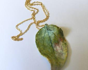 Green Porcelain Leaf Pendant, Large