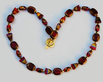 Red Glass Bead Necklace, Red-Gold Bead Necklace, Double Color Bead Necklace, Multi Shaped Bead Necklace, Mother's Day Gift, Women's Jewelry