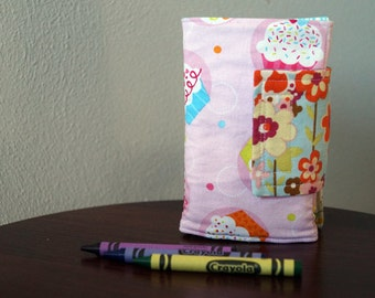 Kids Crayon Wallet - Cupcakes - Pink - Blue - Lime - Gift Under 20 - With Crayons and Paper - Girl Christmas Gift - Stocking Stuffer