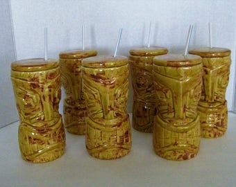 Set of six 8 inches height Tiki Glasses, with lid, seals and straw