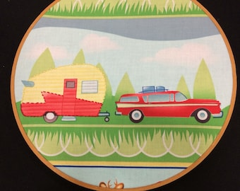 Retro camper and station wagon hoop art