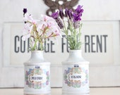 Set of Two Apothecary Jars - Vintage Ceramic Peroxide Cologne Jars