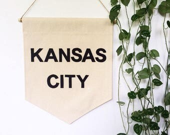 City Banner - Canvas wall Banner - 19 x 13in - custom wall hanging