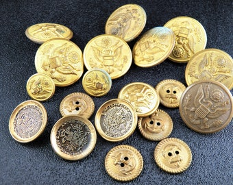 Collection of Military Buttons - WWI Military Buttons - Brass Buttons - Army Navy Uniform Buttons - Scovill - United States - Austria
