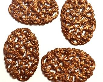 Brass Filligree Stampings, Swirling Leaf Pattern, Filigree Centerpiece, Vintage Jewelry Supplies, Gingerbread Brass, B'sue, 43x64mm,Item0982