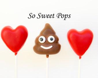 So Sweet Pops Happily Made Heart & Poop Emoji Inspired Cake Pops