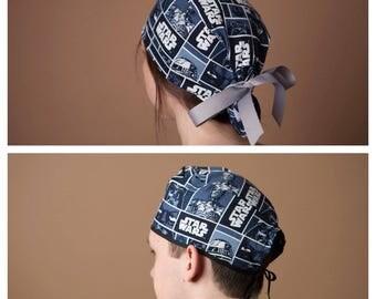 Surgical Hat, Scrub Hat, Scrub cap, Surgical cap, Ponytailed Scrub Hat, Ponytailed Scrub Cap~ Star Wars in Blue