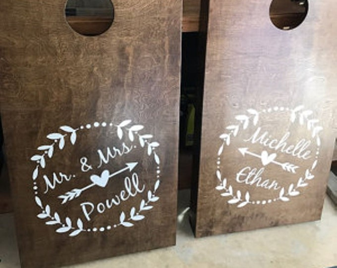 Wedding Cornhole Decals | Personalized Laurel Wreath & Arrow Vinyl Decal Set for Cornhole Game Boards