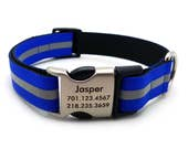 Reflective Dog Collar with Laser Engraved Personalized Buckle - ELECTRIC BLUE