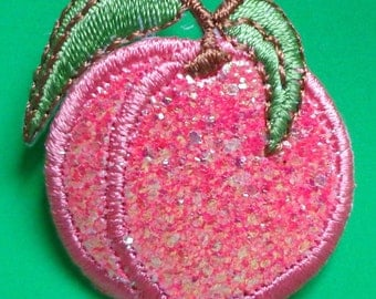 Embroidered Iron-On Applique Sparkle Peach, 1 x 1+1/2 inch