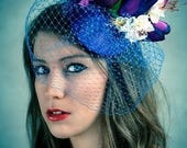 Fascinator Hat in Blue Vintage Style Floral Veil Bridal Wedding
