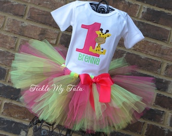 Giraffe Birthday Tutu Outfit-Giraffe Birthday Tutu Set-First Birthday Giraffe Party-Wild at ONE Tutu Outfit-Jungle Birthday Outfit