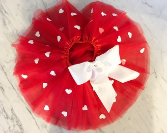 baby girl valentines day outfit, red tutu, queen of hearts, heart tutu, toddler girl valentines outfit, matching doll tutu, doll clothing