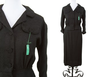 1950s Suit // Deadstock Black Rayon Skirt Suit by Mr. Z