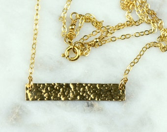 Hammered Gold Bar Necklace | Dainty Delicate Necklace | 14k gold filled NG63