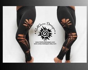 "Junior / Women Leggings ""LOVELY ONE"" Cut and Weaved Dark Grey Leggings, Party Wear, Festival Wear, Beach Wear Small, Medium and Large L-3008"