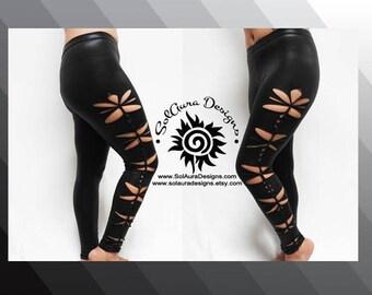 CHEEKY LEGS - Junior/Women Super Sexy Cut and Weaved leggings, Wet Look, Festival Wear