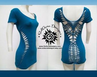 SEXY MAMA - Juniors / Womens Cut and Weaved Teal Top, Yoga Wear, Beach Wear, Club Wear, Festival Wear, Burning Man Wear -