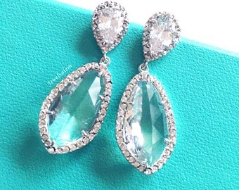 Earrings for Bride Sterling Silver Bridal Earrings Wedding Jewelry Clear Rhinestone Crystal Dangling Sparkling Elegant Drop Earrings C1 JW