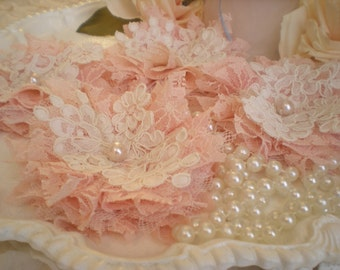 Shabby Chic Blush Pink & Creamy White Vintage Lace FlowerAppliques Home Decor Set Of 4 OOAK By SincerelyRaven On Etsy
