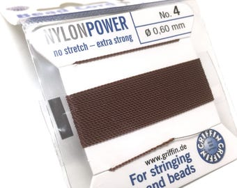Griffin NylonPower Bead Cord. Brown. Stringing Supplies. Pearl Knotting Thread. Beading Thread. No. 4/.60mm. 2 Meters. One (1).