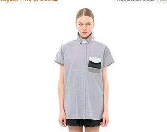 Grey shirt, Strips shirt, Oversized shirt, Classic Spring & Summer Cotton Collared Shirt, Everyday Fashion Top, Versatile Blouse