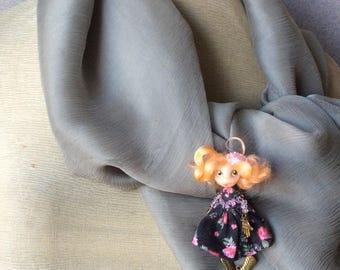 Miniature doll brooch - Brooch doll - Doll brooch - Handmade brooch - Primitive doll brooch - Brooch girl- funny doll brooch- OOAK -  Brooch